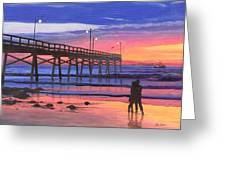 Dusk At The Pier Greeting Card