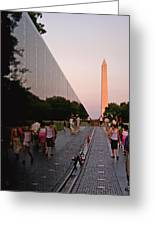 Dusk At The Viet Nam Veterans Memorial Greeting Card