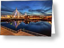 Dusk At The Zakim Bridge Greeting Card