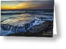 Dusk At Torregorda Beach San Fernando Cadiz Spain Greeting Card