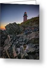 Dusk At West Quoddy Head Lighthouse Greeting Card