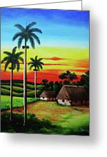 Dusk In A Cuban Countryside Greeting Card