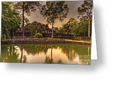 Dusk Light Preah Khan Temple Reflection Greeting Card