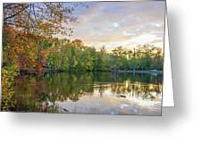 Dusk On Autumn Lake  Greeting Card