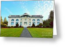 Dusk On Pacific County Historical Courthouse  Greeting Card