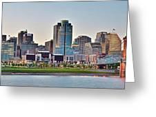 Dusk Pano In Cincinnati Greeting Card