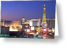 Dusk, The Strip, Las Vegas, Nevada, Usa Greeting Card