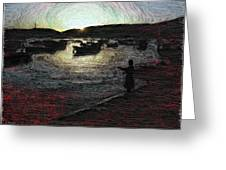 Dusky Harbor A La Van Gogh II Greeting Card