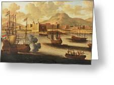 Dutch And English Warships Greeting Card