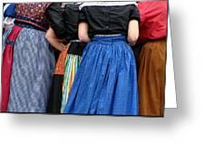 Dutch Dancers In A Huddle Greeting Card