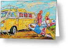 Dutch Holiday, Yellow Surf Bus Greeting Card