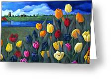 Dutch Tulips With Landscape Greeting Card