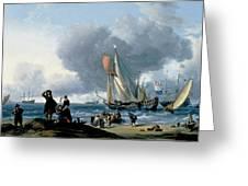 Dutchman Embarking Onto A Yacht Greeting Card