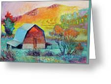 Dyeleaf Mountain Barn Sunrise Greeting Card