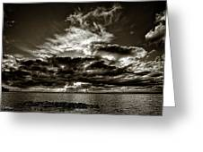Dynamic Sunset - Sepia Greeting Card