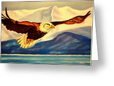 Eagle And Mountains Greeting Card