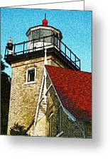 Eagle Bluff Lighthouse Re-imagined Greeting Card