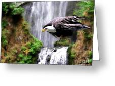 Eagle By The Waterfall Greeting Card