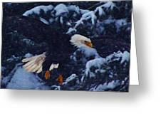 Eagle In The Storm Greeting Card