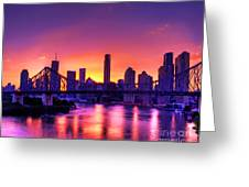 Early Brisbane Sunset With Purple And Yellow Sky Greeting Card