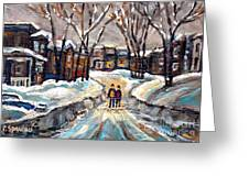 Original Montreal Paintings For Sale Winter Walk After The Snowfall Exceptional Canadian Art Spandau Greeting Card