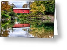 Early Fall Colors Surround A Covered Bridge In Vermont Greeting Card