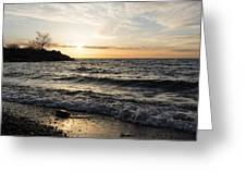 Early Lakeside - Waves Sand And Sunshine Greeting Card