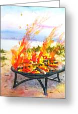 Early Morning Beach Bonfire Greeting Card