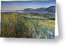 Early Morning Fog In The Foothills Of The Overberg Range Of Mountains Near Heidelberg South Africa. Greeting Card