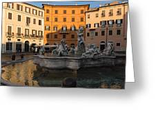 Early Morning Glow - Neptune Fountain On Piazza Navona In Rome Italy Greeting Card