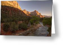 Early Morning Hike At Zion National Park  Greeting Card