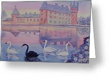 Early Morning Upon  A Manor Lake.landscape Of France. Greeting Card