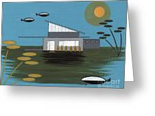 Early Painting Futuristic House Greeting Card