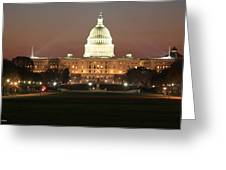 Early Washington Mornings - Us Capitol In The Spotlight Greeting Card