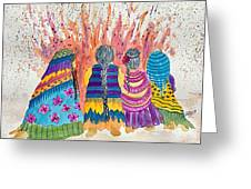 Earth Mothers - Feeding  The Fire Greeting Card