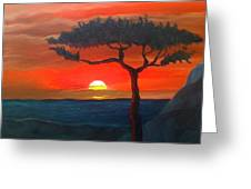 East African Sunset Greeting Card