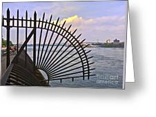 East River View Through The Spokes Greeting Card