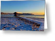 East Texas Snow, Lake Bob Sandlin, Texas. Greeting Card