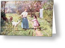 Easter Eggs In The Country Greeting Card by Victor Gabriel Gilbert