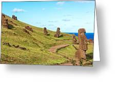 Easter Island Moai At Rano Raraku Greeting Card