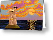 Easter Island Sunset Greeting Card