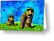Easter Island - Van Gogh Style - Pa Greeting Card