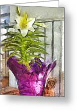 Easter Lily And Doll Greeting Card