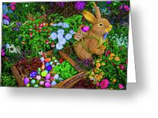 Easter Rabbit In Garden Greeting Card