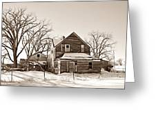 Eastern Montana Farmhouse Sepia Greeting Card