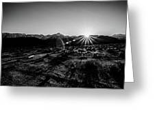 Eastern Sierra Sunset In Monochrome Greeting Card