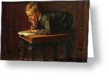 Eastman Johnson - Reading Boy Greeting Card
