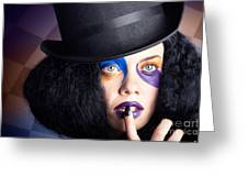 Eccentric Mad Fashion Hatter In Colourful Makeup Greeting Card