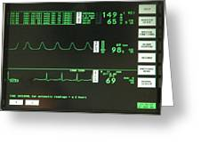 Ecg Monitor Screen. Greeting Card