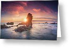 Ecola State Park Beach Sunset Pano Greeting Card